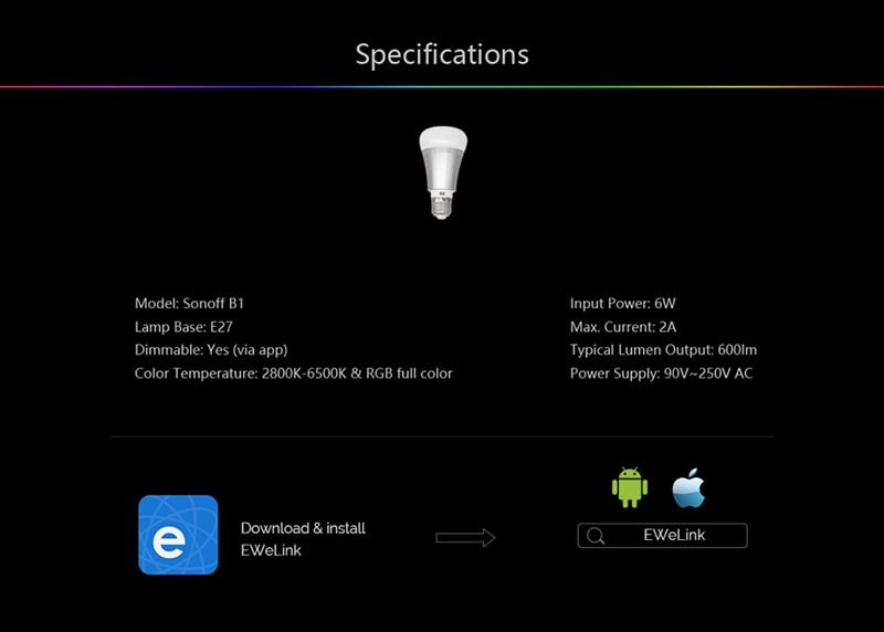 Smart WiFi White & Color Ambiance Light Bulbs - 6W (Sonoff B1)